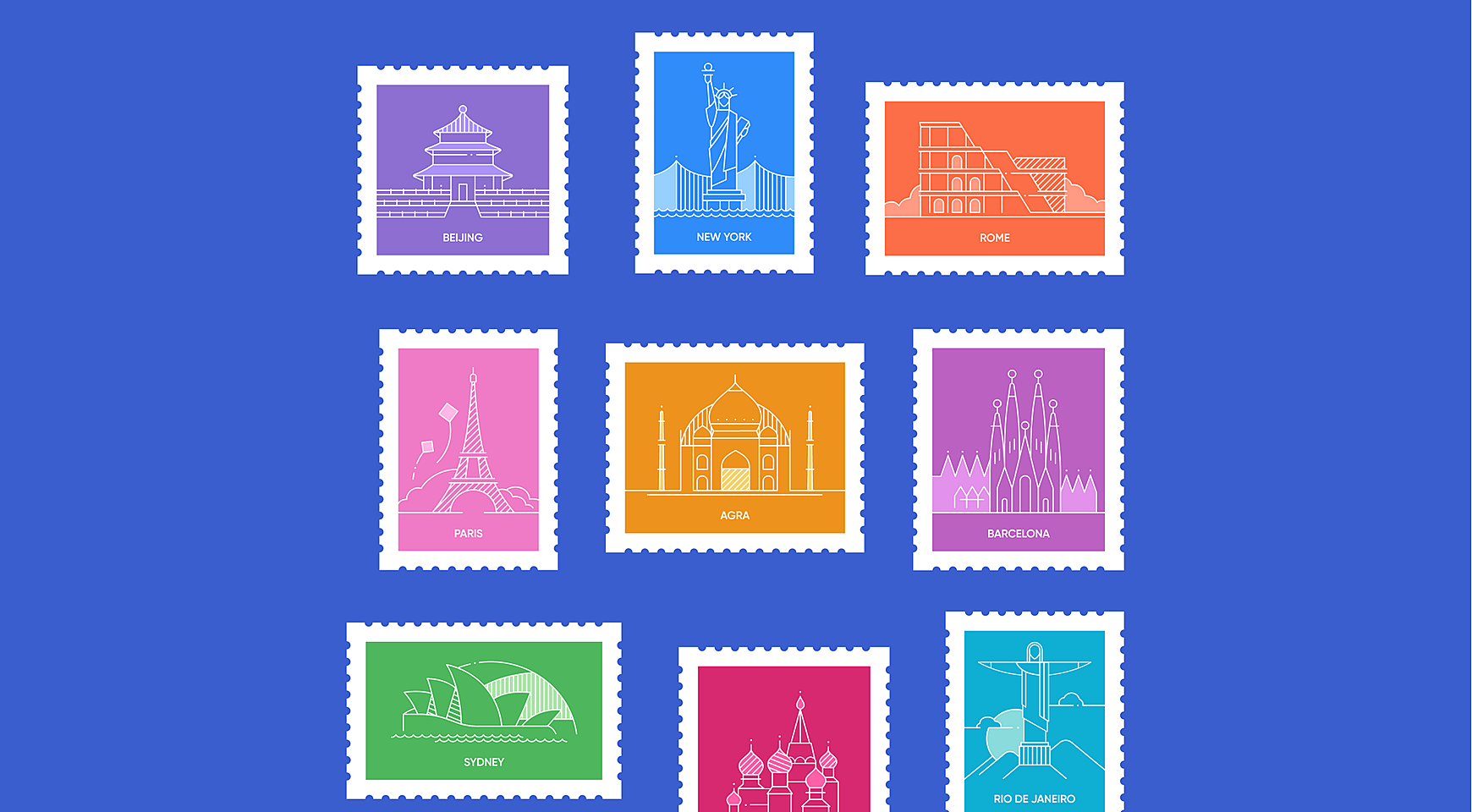 World Capitals and Cities Icons Set