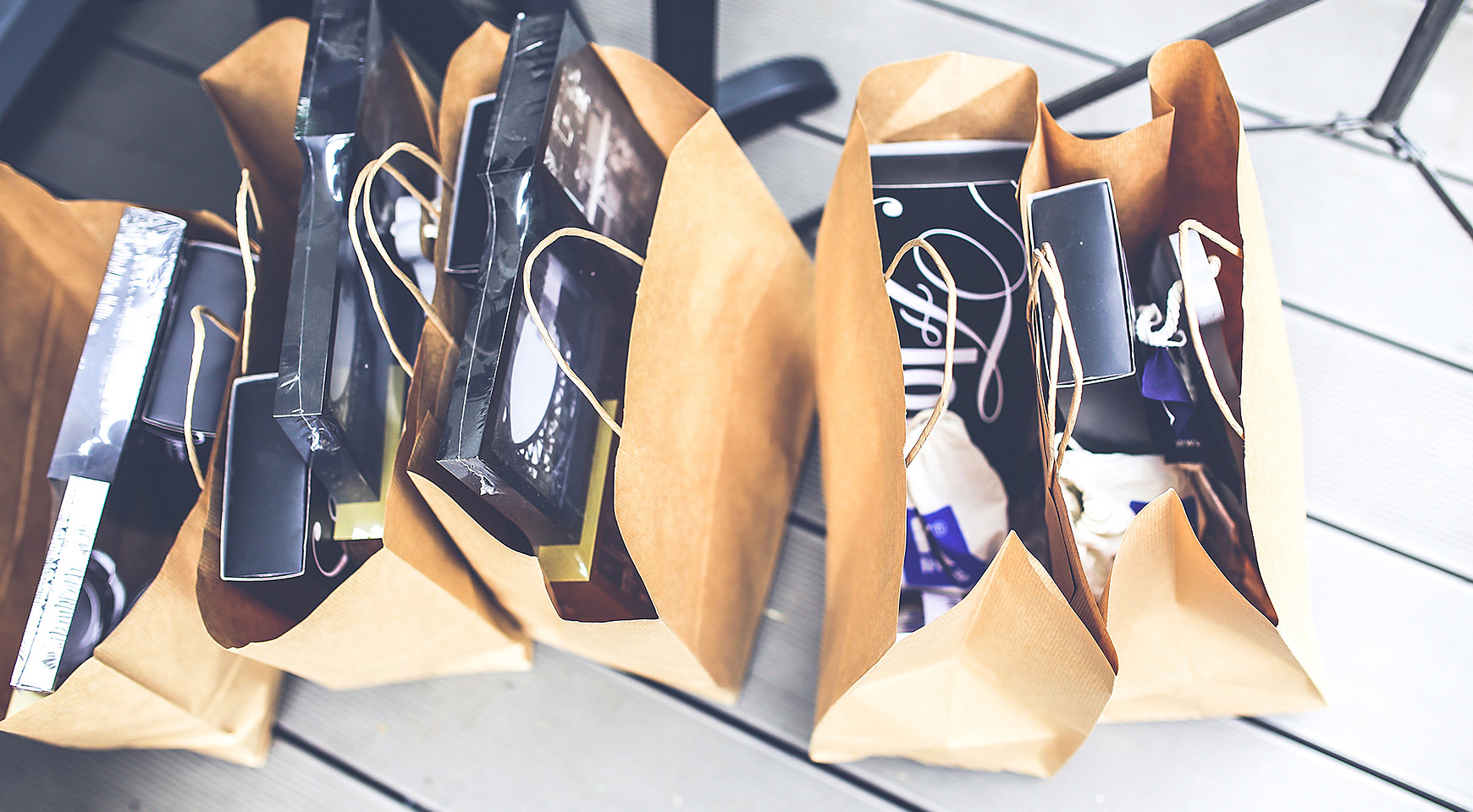 paper bags with purchases