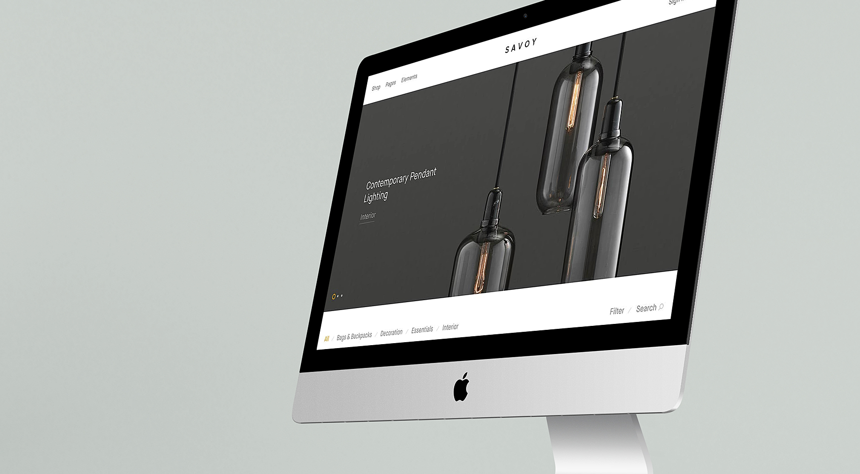 An ecommerce website opened on iMac