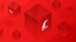 Schematically shown red cubes with Ruby on Rails sign.